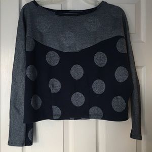 Tops - Navy with metallic silver detail cropped shirt